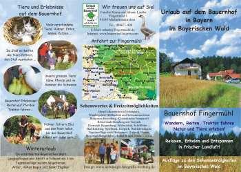 Flyer für Urlaub auf dem Bauernhof in Bayern im Bayerischen Wald