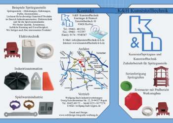 moderne Spritzgussmaschinen - Kunststofftechnik - Flyer Prospekt Mustertexte Mustervorlagen - Leistungsspektrum Spritzerei - Wartung Reparatur der Spritzgußwerkzeuge