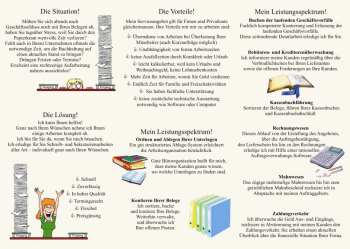 Büroorganisation Schreibarbeiten Sekretariatsarbeiten - Flyer Design - Beispiele, Vorlagen, Entwürfe - Mustertexte, Mustervorlagen