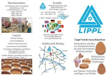 Flyer zur Firmen Präsentation und der Produktpalette Waffelmaschinen Sondermaschinenbau
